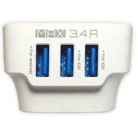 3 Port Cellphone Charging Plug, 3.4A Max Output